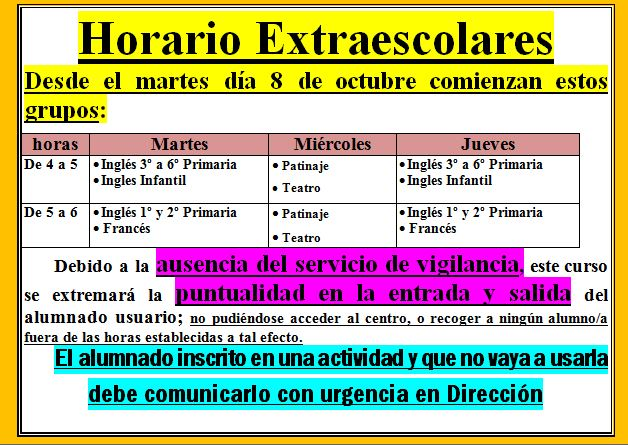 HORARIO DE ACTIVIDADES EXTRAESCOLARES 19/20