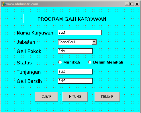 membuat program gaji sederhana di delphi