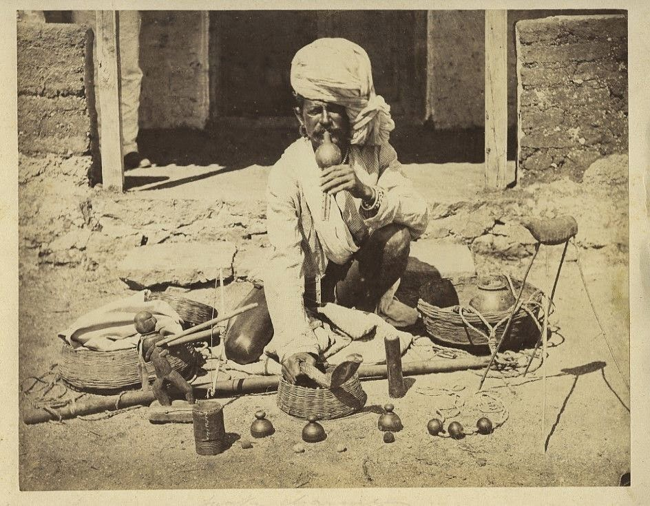 Indian Snake Charmer Playing his Flute - c1870's