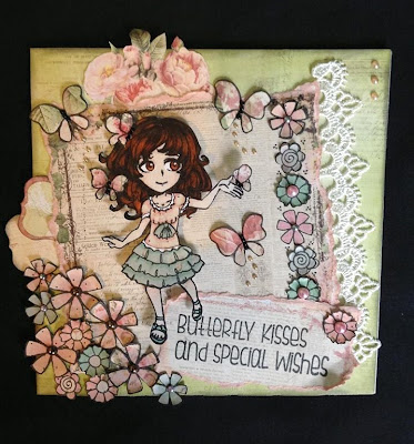 visible image stamps - butterfly stamp - cute girl character - flowers