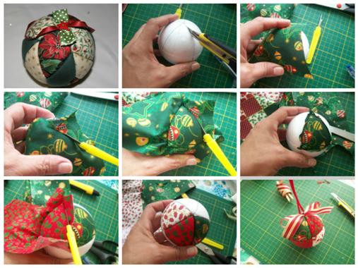 Como fazer bolas de natal com tecido para arvore