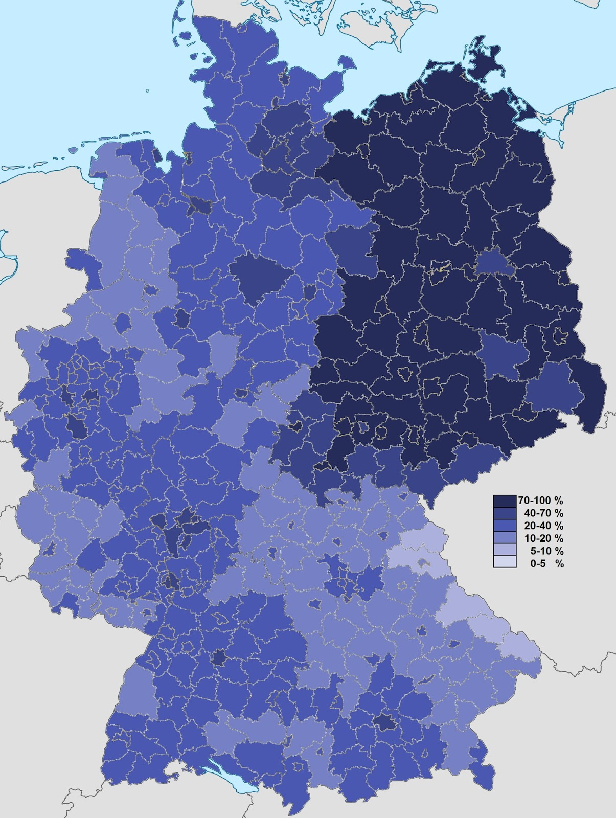 Non-religious population in Germany (according to 2011 census)