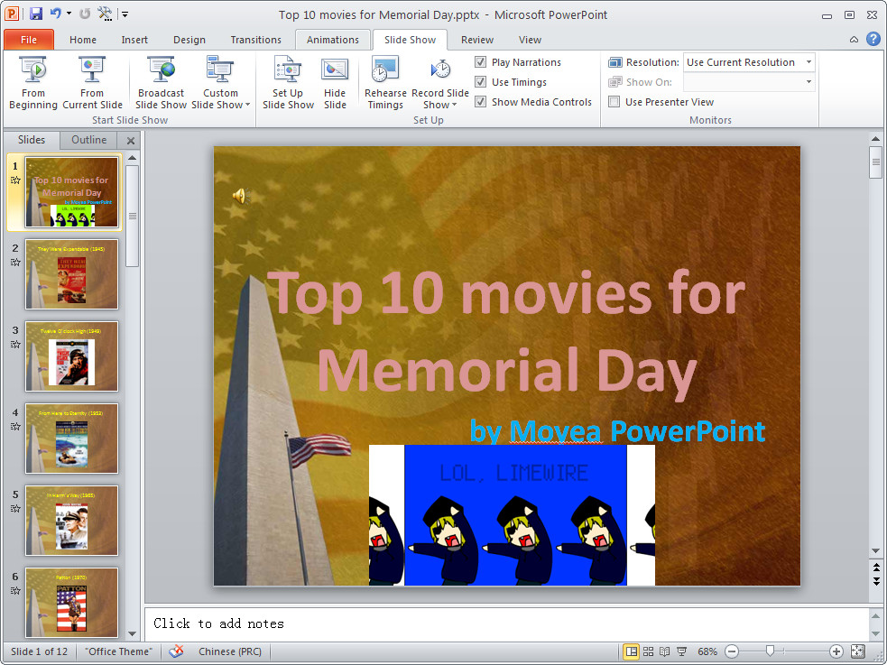 Play flash animation on PowerPoint 2010