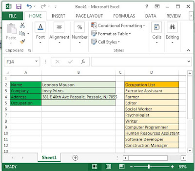 Excel combo box