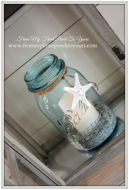 Simple Nautical Fireplace Mantel Display-Vintage Blue Mason jar-Starfish- From My Front Porch To Yours