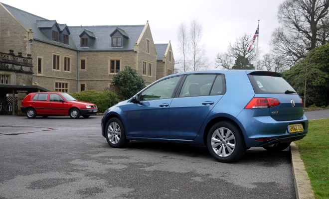 1994 VW Golf Ecomatic next to 2013 Golf version 7