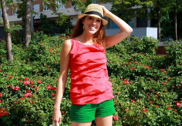 conjunto rojo y verde
