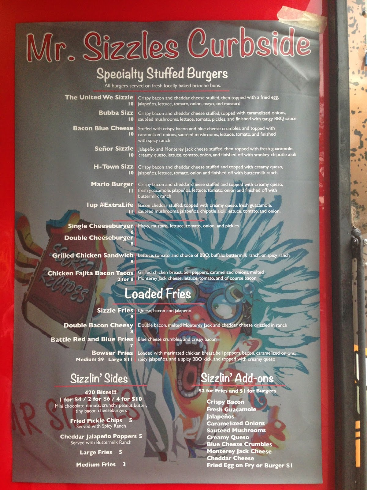 Mr. Sizzles Curbside Food Truck Menu
