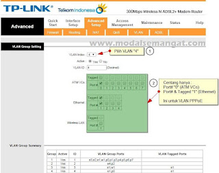 "VLAN Index ""4"" (Ini untuk setting VLAN Bridging PPPoE)"
