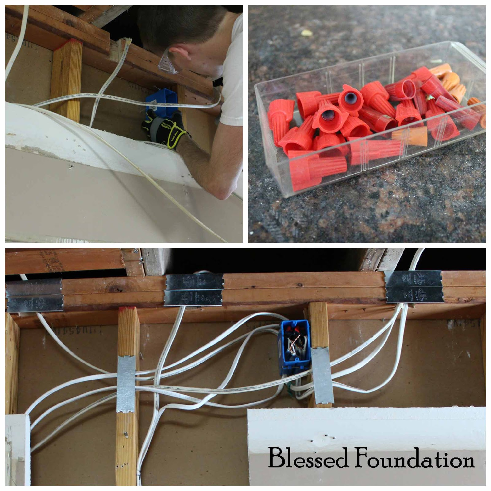 Blessed Foundation Post 35 Hiding Electrical Wires What Is Romex Wiring Rubber Coating Of Each Wire Twisted Them To The Matching Extension Piece Covered With A Plastic Connector And Then Wrapped