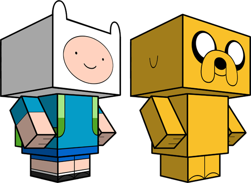 Adventure Time Papercraft Finn and Jake