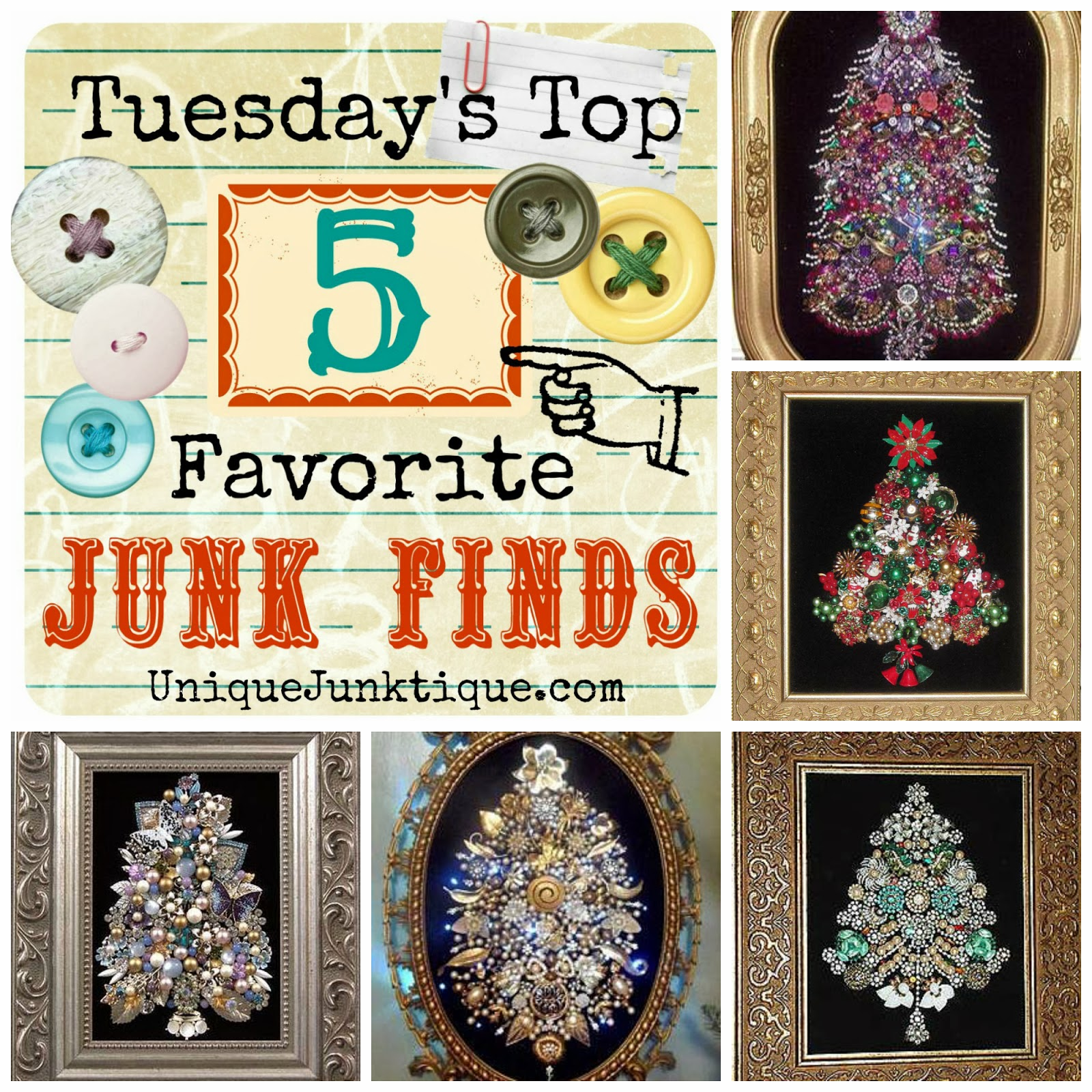 Tuesday's Top Five Favorite Junk Finds #13 Featuring Vintage Jewelry Tree Art