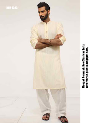 kur-1283-beige-karandi-shirt-with-white-cotton-shalwar-by-deepak-perwani