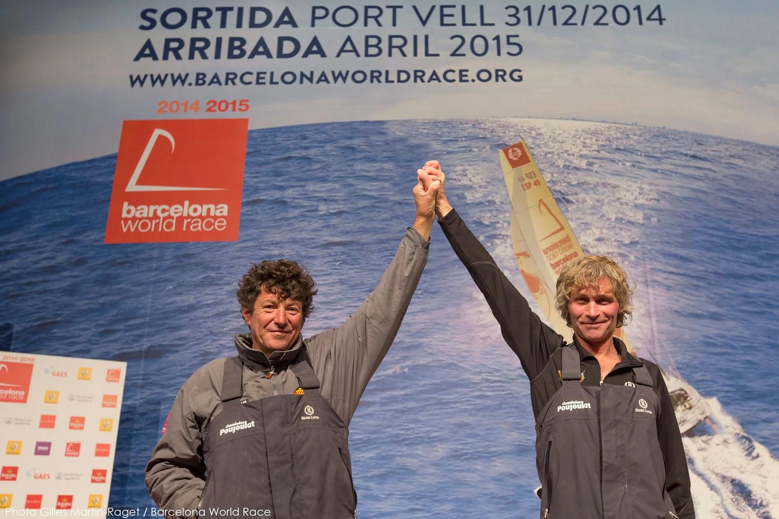 Victoire de Bernard Stamm et Jean Le Cam sur la Barcelona World Race.