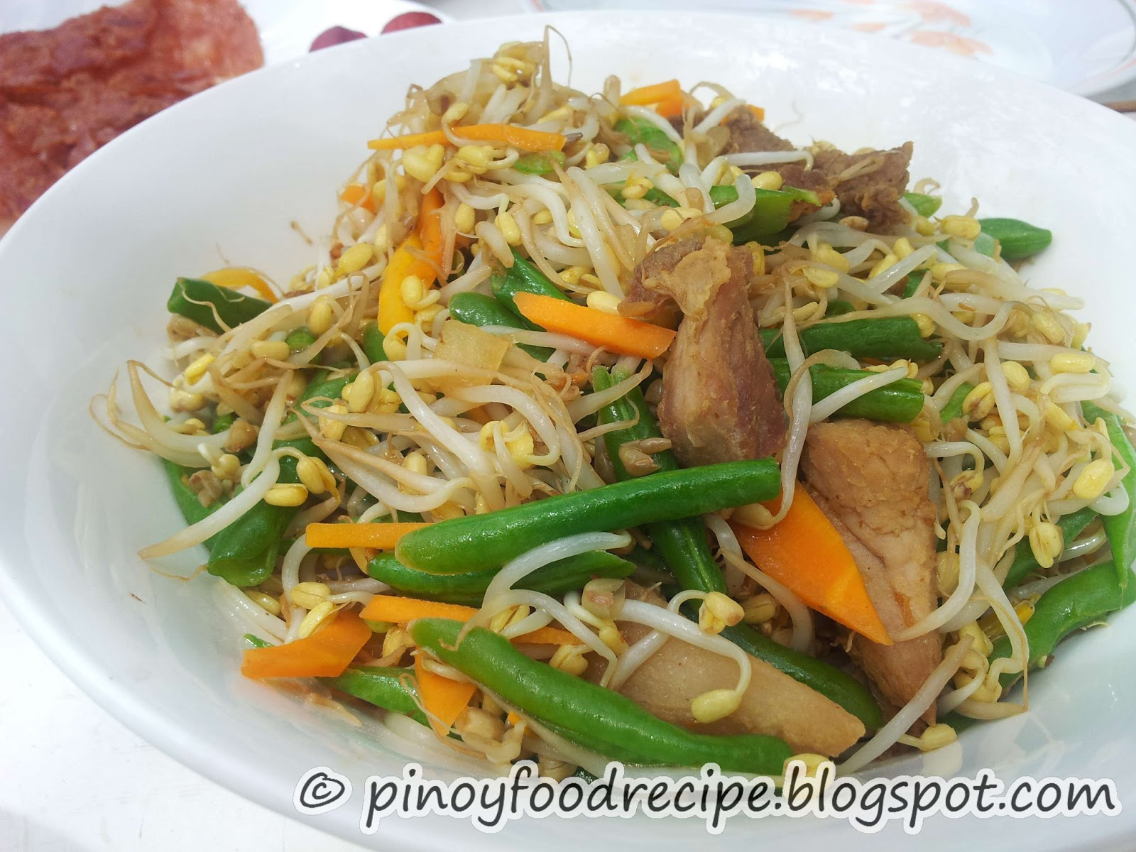 Pinoy food recipes sauted bean sprouts with pork when i was in philippines on vacation as much as possible i would like to eat filipino food that i cant eat while im working overseas forumfinder Gallery