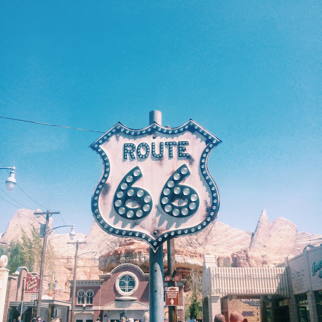 Route 66 sign in Cars Land at Disneyland