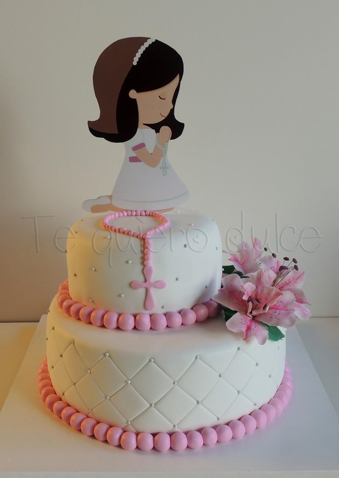 tortas de comunion rosa