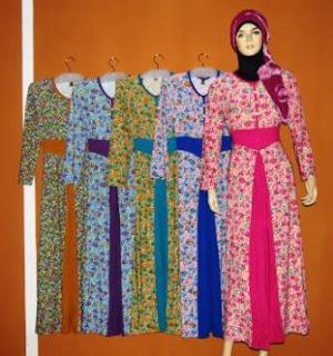 Gamis korea bunga gkm4486 grosir baju muslim murah tanah Baju gamis nevada