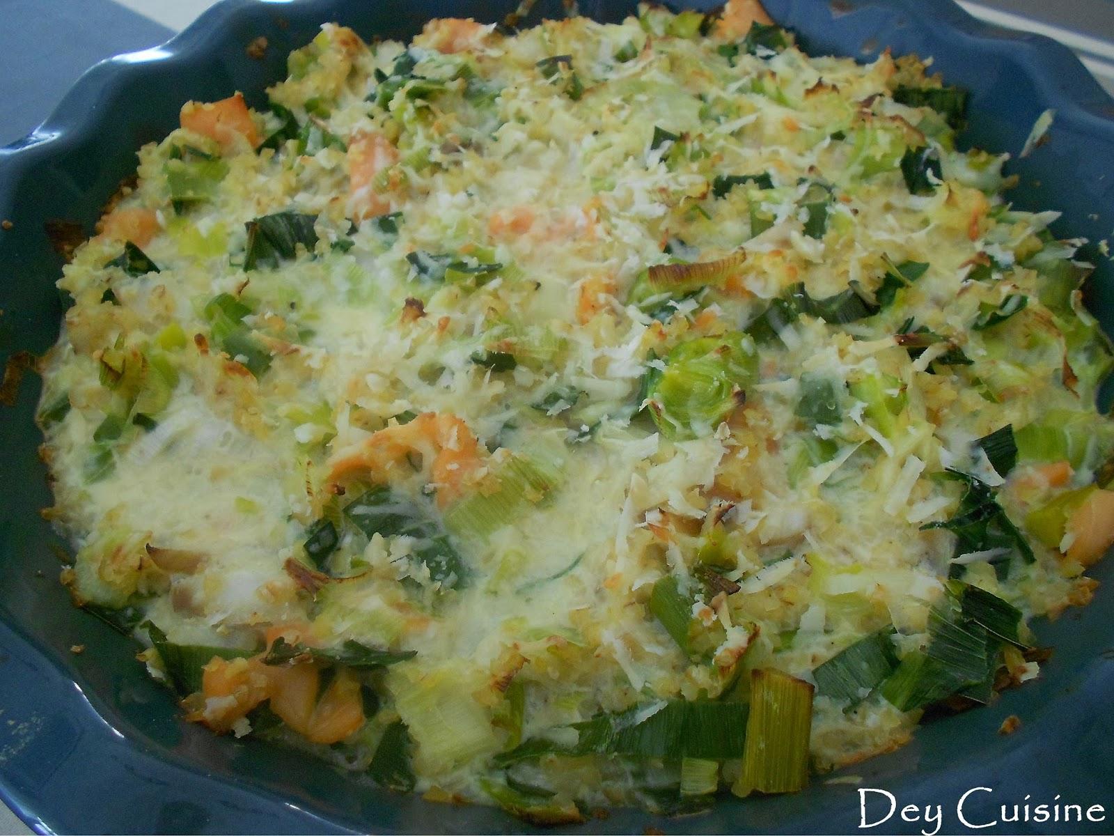 dey cuisine: fondue de poireaux au poisson
