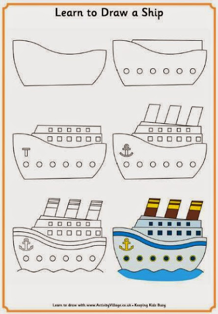 Learn to draw ship for kids