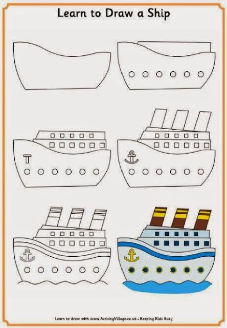 Cara menggambar kapal feri bagi anak anak
