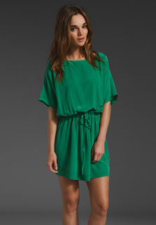 joie short green silk dress
