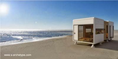 Modelo de casa pequeña compacta autosuficiente en Grecia