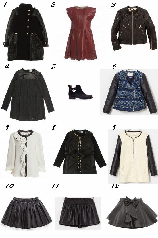Selección de moda niña otoño 2013 tendencia cuero Pequeña Fashionista