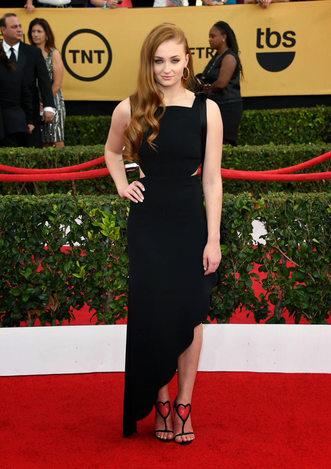 Sophie Turner in a black dress at the 21st Annual SAG Awards in LA