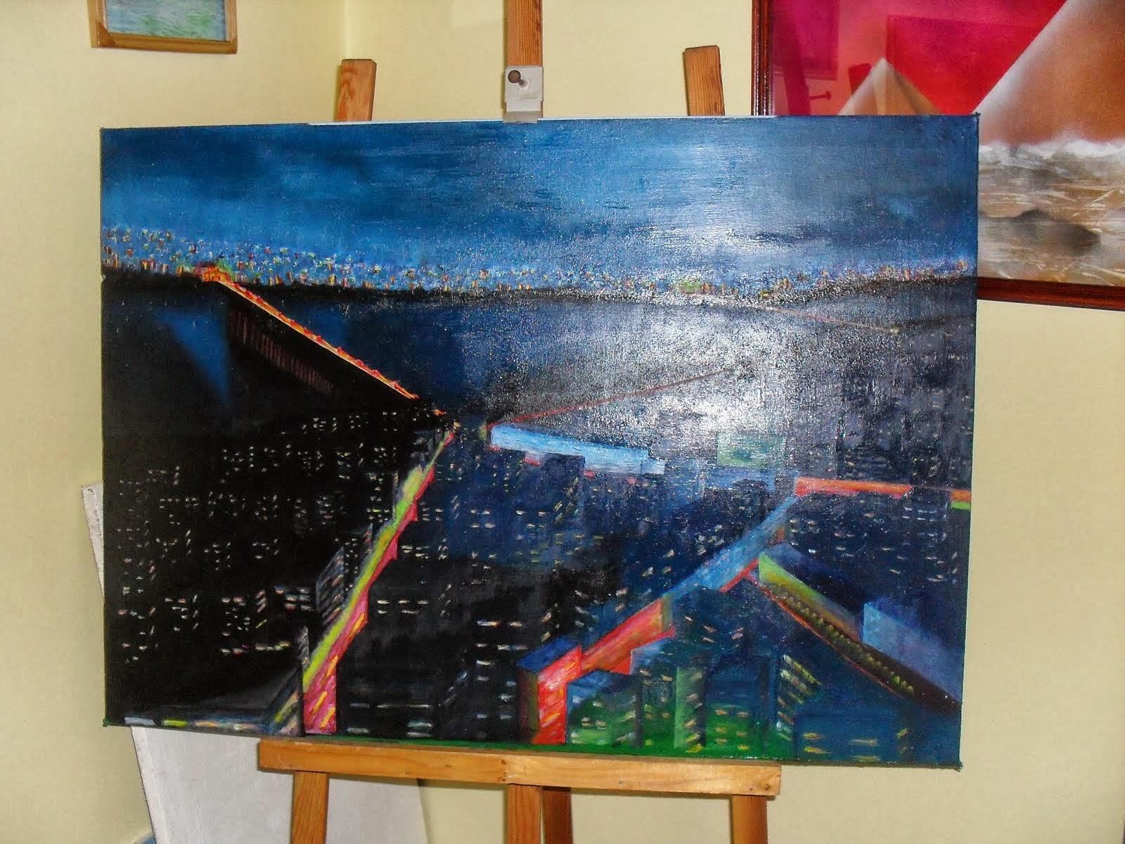 ulje na platnu,umetnička slika-NEON CITY-Vladisav Bogicevic slikar Luna-Nis