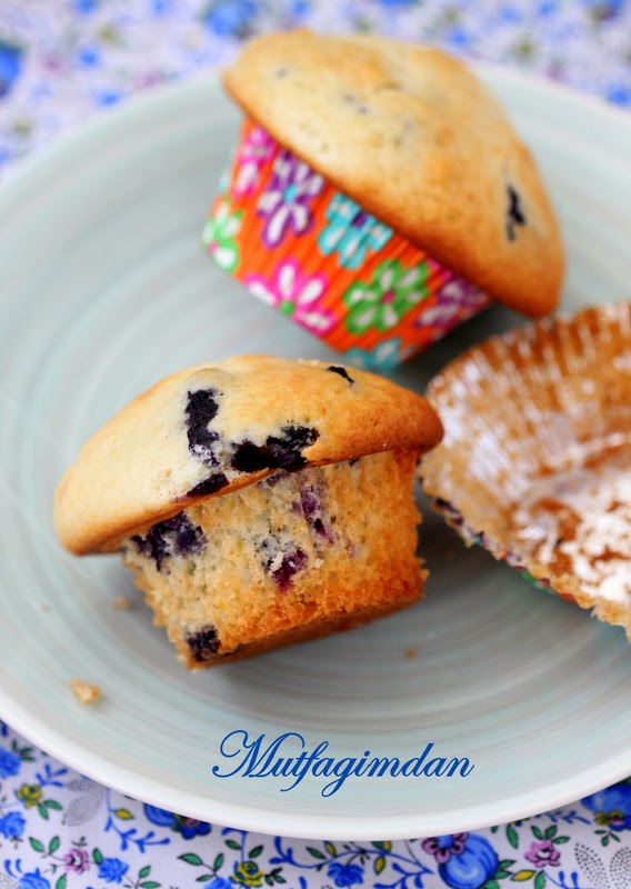 Limonlu Yaban Mersinli (Blueberry) Muffinler