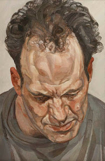 portrait painting, of Frank Auerbach, by Lucian Freud, artist