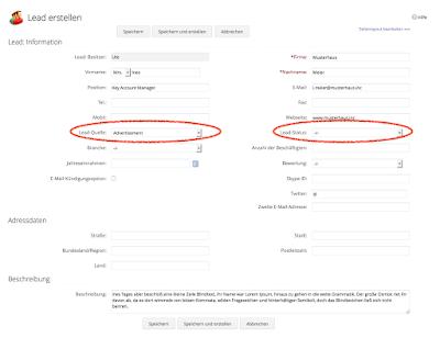 Formular um Leads in Zoho CRM. Besondere Hervorhebung des Formularfeldes Lead-Quelle und Lead-Status