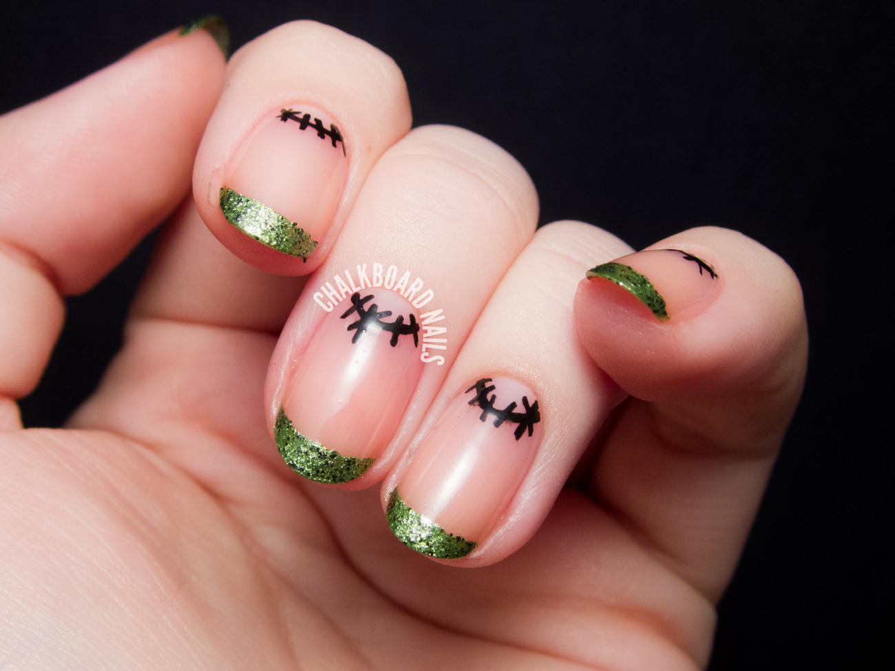 Frankenstein French And Simple Stitched Moons Chalkboard Nails