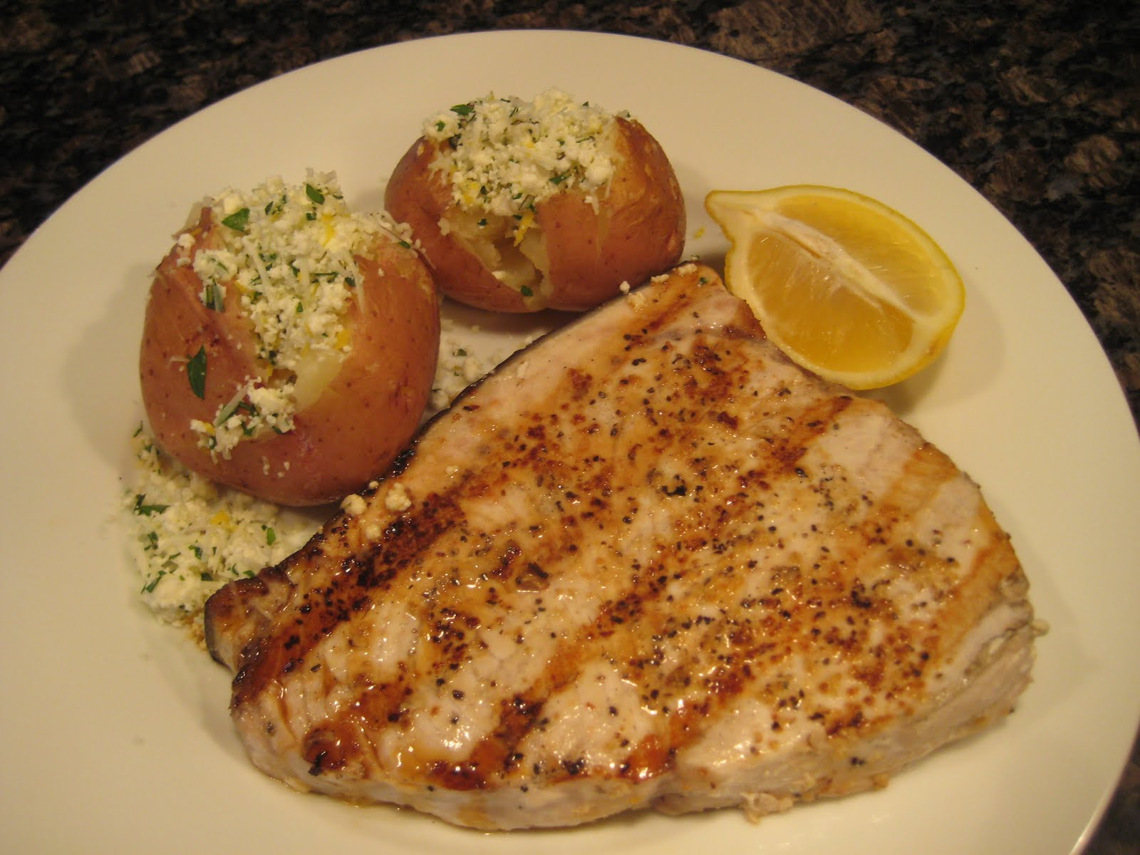 Dinner with the Welches: Ricotta Lemon Potatoes with Grilled Swordfish