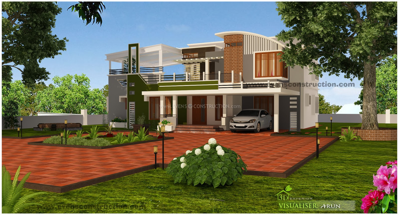 Evens construction pvt ltd unique contemporary luxury for Unique modern house exterior