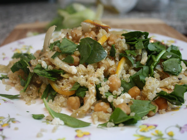 Weeknight Vegetarian: Roasted Lemon Quinoa with Chickpeas & Feta