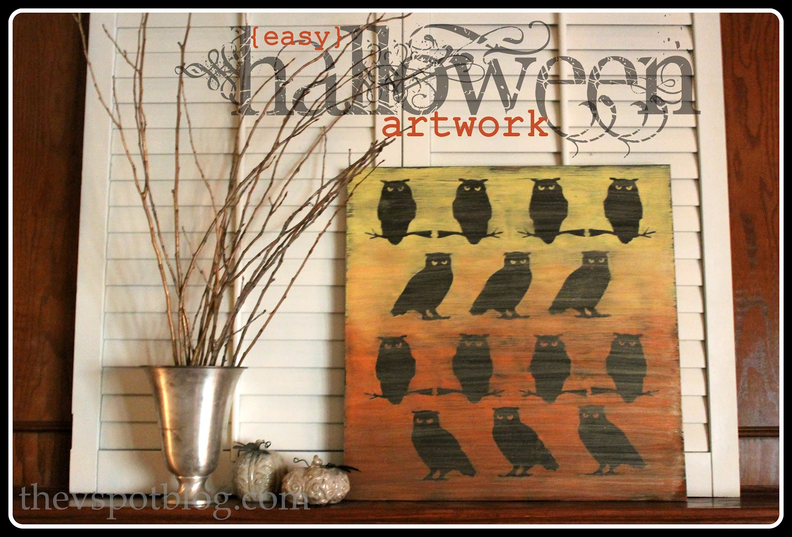 Ombre owl artwork from dollar store halloween decor for Dollar store art
