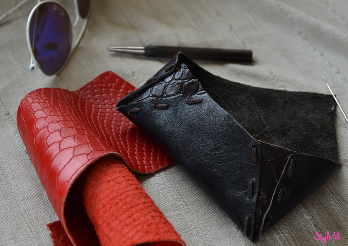For the Hidesign Art of Reuse contest, Dayle Pereira of Style File is in the final stages of creating her sunglasses case with embossed crocodile leather panels and stitching and has to put the final touches on the leather item