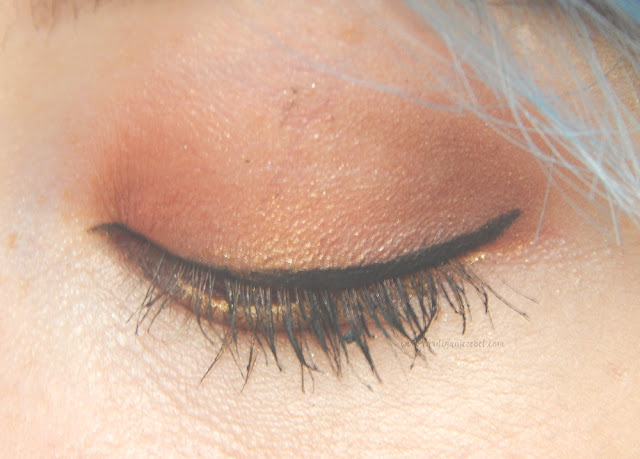 eyeshadow and eyeliner on a closed eye