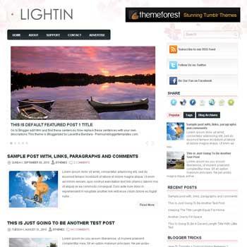 Lightin blogger template. free blogspot template magazine style