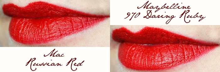 Mac Lipstick Drugstore Dupe: Russian Red vs. Daring Ruby