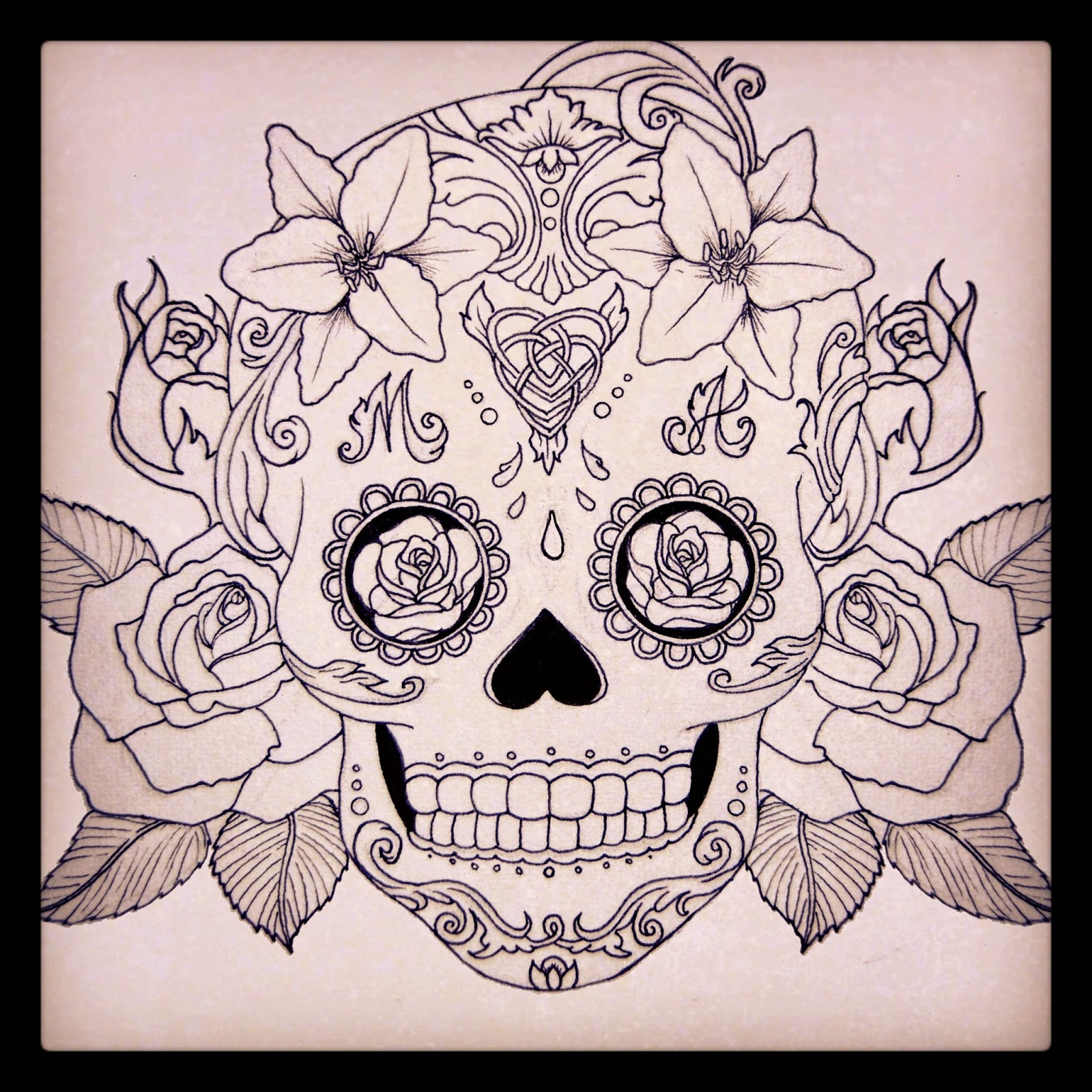 Tatouage old school tête de mort mexicaine Inkage