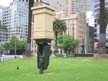 Melbourne+upside+down+statue+Charles+La+