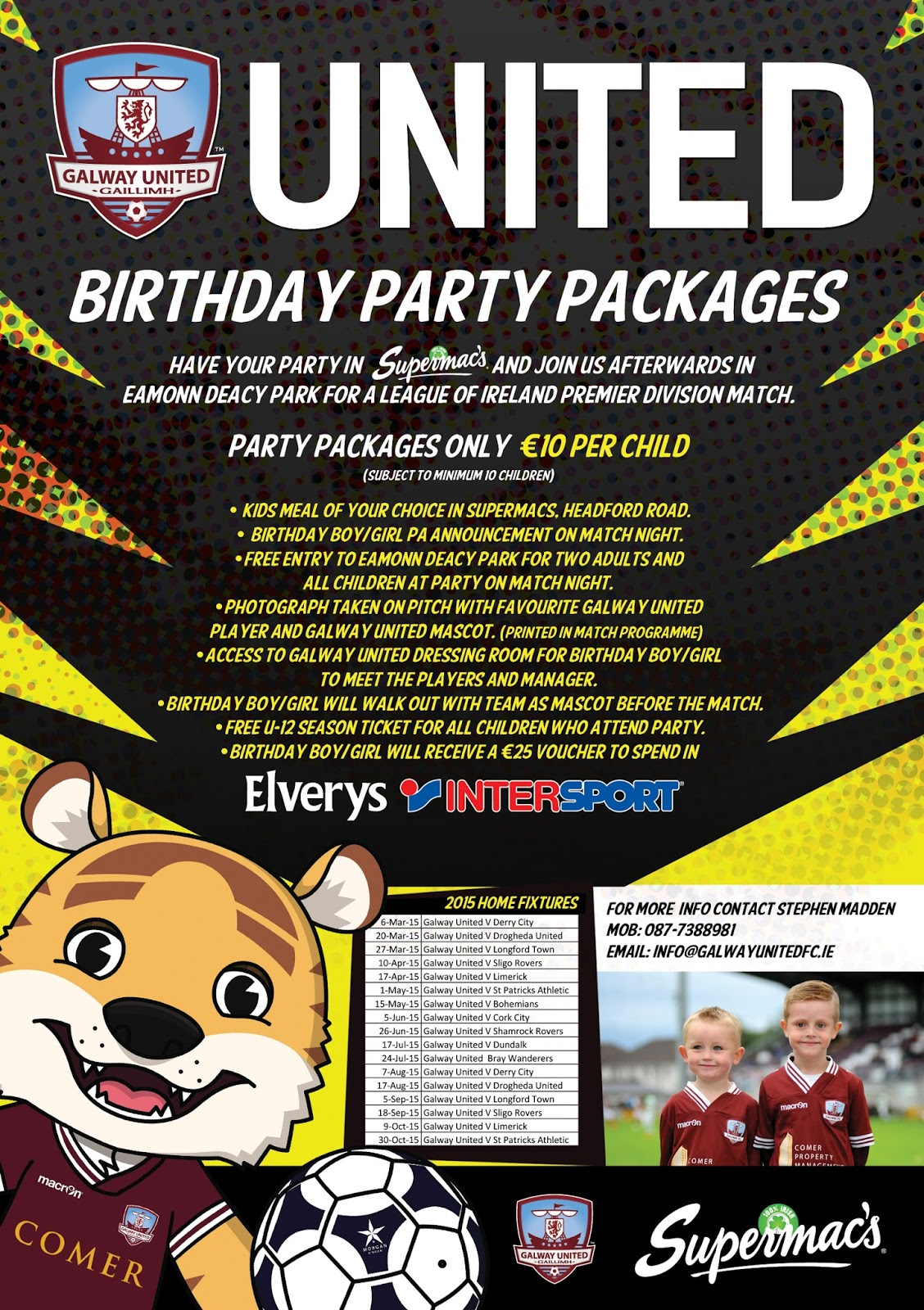 galway united birthday party flyer