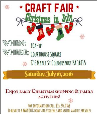 7-16 Craft Fair Christmas In July