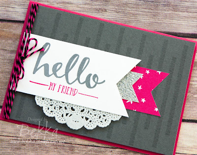 Hello My Friend Banner Card for Some Very Clever Stampers - find out more here