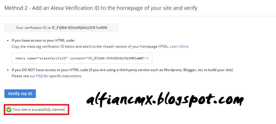 Cara Terbaru Verifikasi Situs Alexa 2014