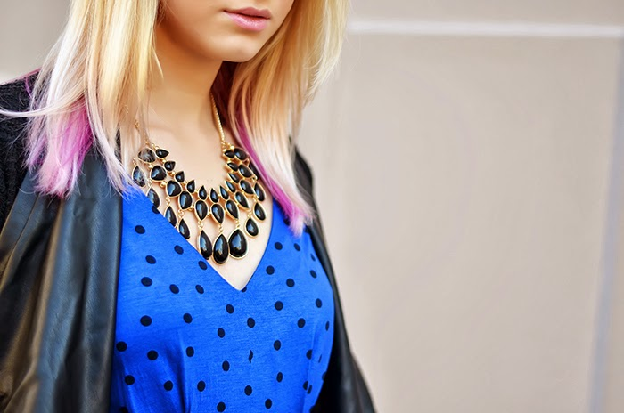 Mango polka dot blue dress H&M necklace