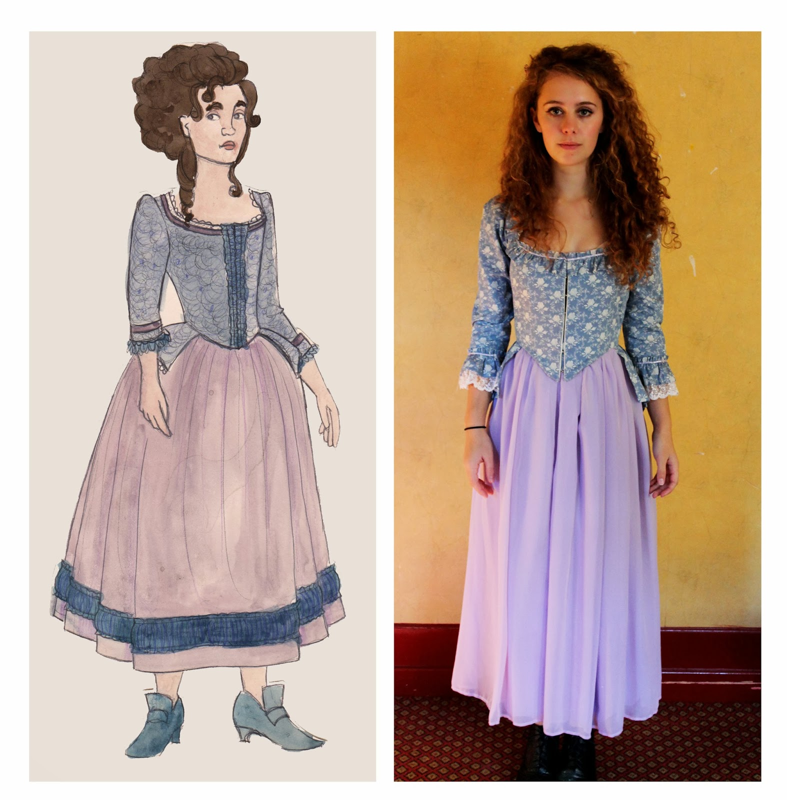 rachael fraser wuthering heights cathy s dresses the fabric for the bodice is a light blue a floral rose pattern in cream it has a gathered flounce around the neckline and the sleeve as well as some